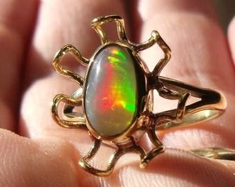 Bezel set wello Opal gem brass ring sz 8.75