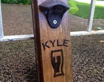 Personalized custom wall mount wall bottle opener wall beer opener barware man cave beer opener groomsmen gift first name family name stein