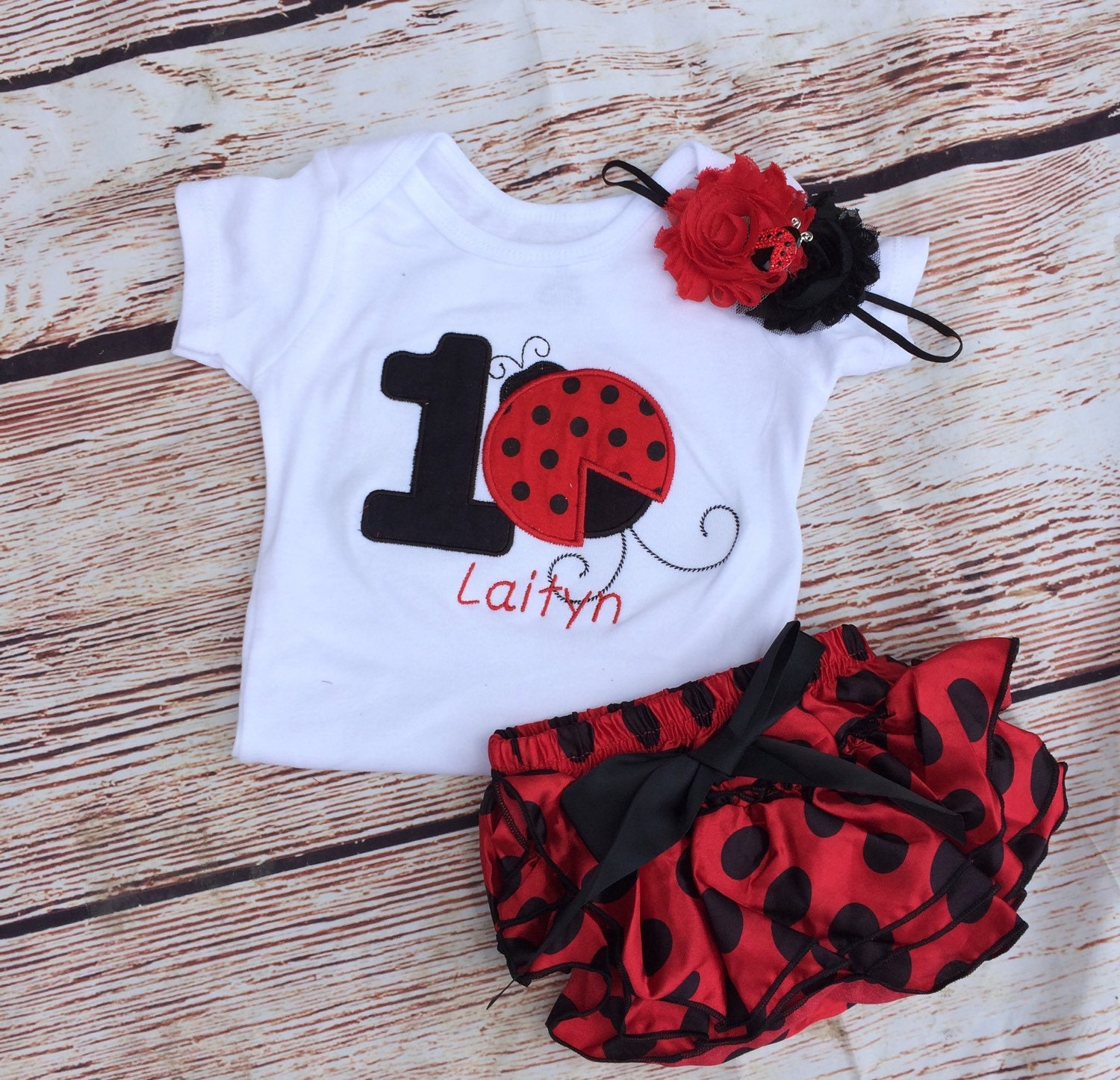 foto de Red and black ladybug birthday outfit 1st birthday bodysuit