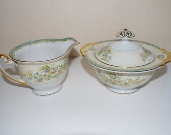 Meito Pattern # MEI549 China Cream Creamer Pitcher & Sugar Bowl Set Made in Japan