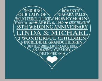 35th Anniversary Print - Coral Anniversary - Parents Anniversary Gift - 35th Anniversary Poster- PDF Digital File