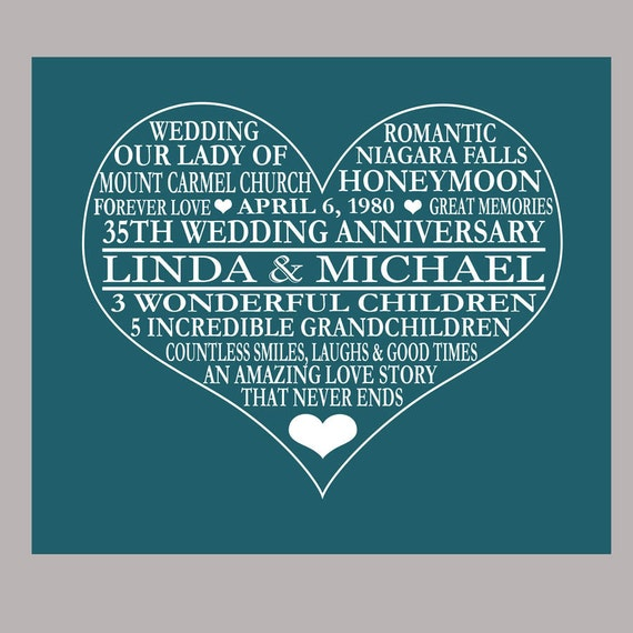 Gift Ideas For Parents 35th Wedding Anniversary : 35th Anniversary Print - Coral Anniversary - Parents Anniversary Gift ...