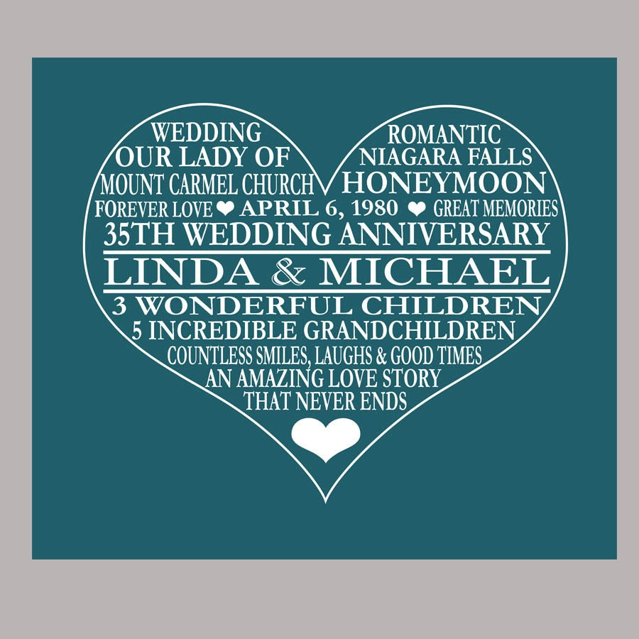 What Is The 35th Wedding Anniversary Gift: 35th Anniversary Print Coral Anniversary Parents