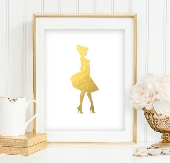 Girly Bedroom Items: Items Similar To Gold Foil Girl Print Feminine Girl's
