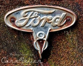 Vintage Ford V8 Logo Photograph