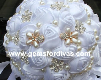Made to Order Satin Roses Brooch Bridal Bouquet,White, Grooms Boutonniere, Wedding Flowers, Bling,