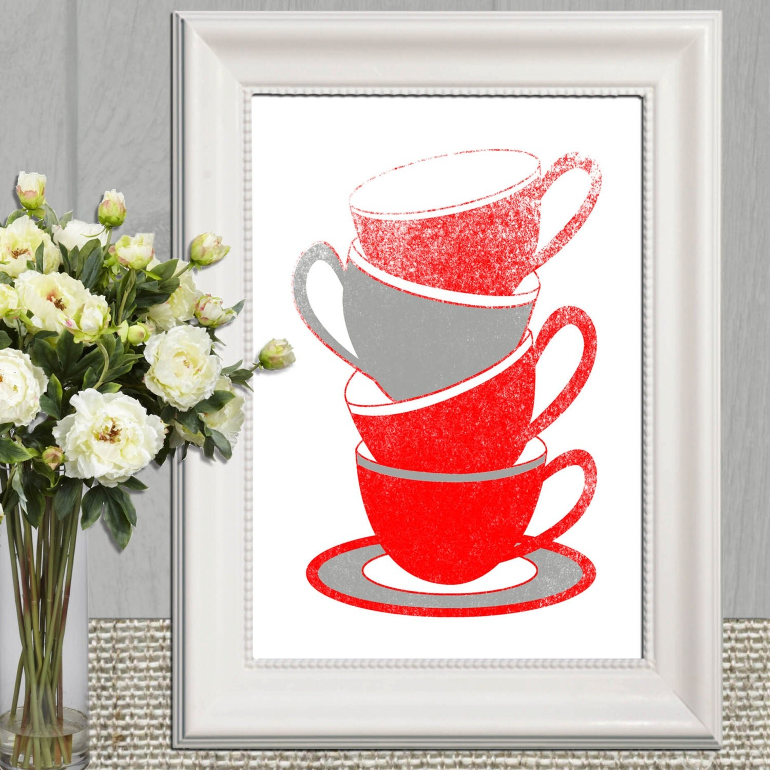 Red kitchen decor kitchen prints kitchen printable kitchen for Red kitchen wall art