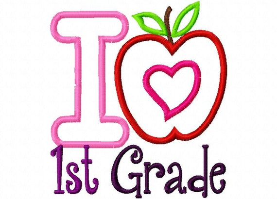 I Heart Love First 1st Grade Applique Machine Embroidery Design 4x4 and 5x7
