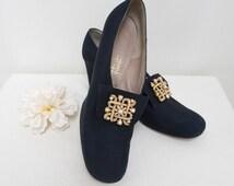 Vintage Original 1970's 70's Ladies Navy Blue Gold Pearl Shoes Pumps Size UK 6.5 US 9 EU 39.5