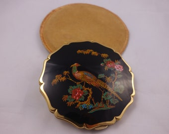 Vintage Stratton Compact with Pheasant and exotic flowers  SALE WAS 27.00 NOW 16.00