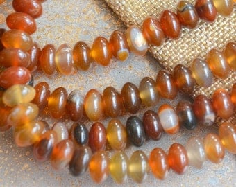 Agate Beads, Rondelle Beads, Natural Agate Beads, Gemstone Disc Beads, Red Agate Beads, Carnelian Agate Beads, Stone Abacus Beads, SIAM-B