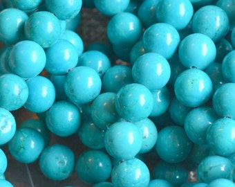 8mm Turquoise Beads,Chinese Turquoise,Dyed,Turquoise,Semi Precious,Gemstones,Dark Turquoise Beads,Half Strand, 24 Beads, SIAM15-B003