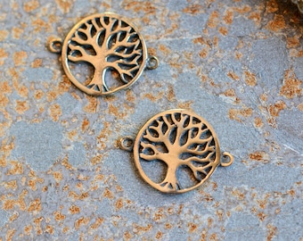 Tiny Round Bronze Tree of Life Connector,Tree of Life Bracelet,Tree of Life Beads,Small Tree of Life,Bracelet Component,Pack of 10, BS15-057