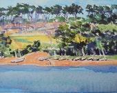 Cape Cod, Massachusetts, Golf, Golf Course, Original, Landscape Painting, Acrylic, Watercolor Paper, Lerew, Contemporary, Unframed, Signed