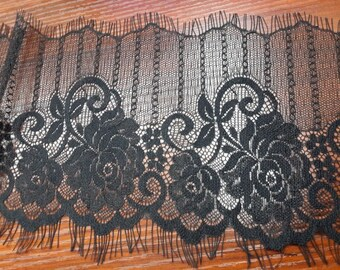3 Yards off white French Chantilly Lace ,Exquisite Black Eyelash Lace Trim,Wedding lace fabric -7850