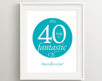 Happy 40th Birthday Card or Poster, Instant Download 5x7 and 8x10 files, with positive birthday sentiment