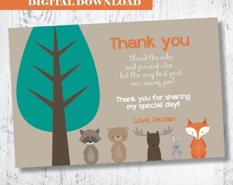 Woodland Forest Friends Thank you Card.Woodland Birthday Thank You.Forest Animals Thank You.Fox Party Printable. Boys Fox Thank You Card.