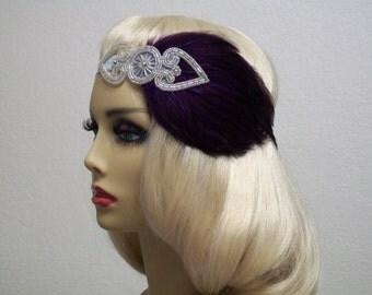 Great Gatsby Headband, Flapper Style, 1920s Headpiece, 1920s hair accessory, Beaded Feather Headband, Flapper headband, Vintage inspired