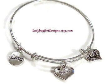 SISTER Adjustable Wire charm bangle,Tibetan Silver charm Bracelet,One Size Fits Most