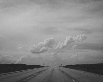 black and white highway photo, american wall art, black and white home decor, travel photography, bedroom art, nursery decor