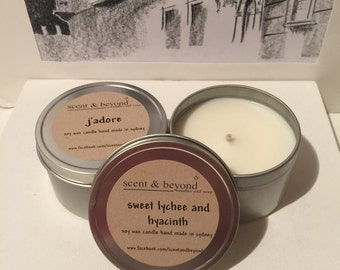 Travel Candle Soy Wax and Scented 8oz Hand Made