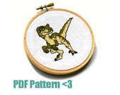 Cross Stitch Pattern and How-To Guide - Tiny Velociraptor - Dinosaur - 4 x 4 Inches