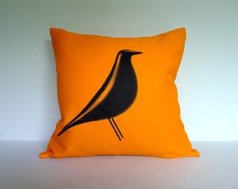 Eames House Bird Screen Printed Throw Pillow in Bright Orange