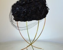 Vintage 70s ~ Mid Century Modern Hat/Wig Wire Display Stand | Gold-Tone Metal, White Rubber Feet, Adjustable