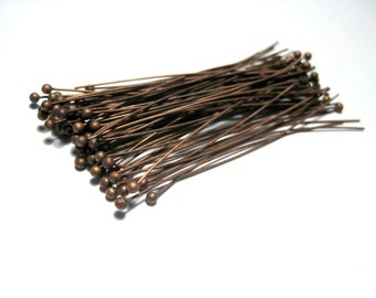 Antique Copper Ball Head Pins 50mm 2in 24Ga Ball Pins (No.437)