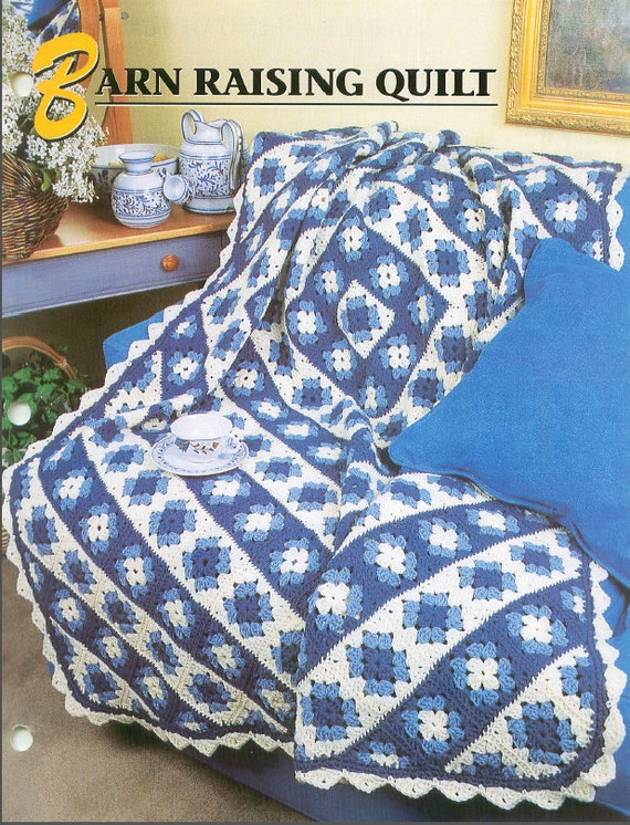Crochet Afghan Patterns Quilt : Crochet BARN RAISING QUILT Afghan Pattern Finished