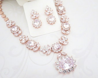 Rose Gold Statement necklace, Rose Gold Bridal necklace set, Wedding jewelry set, Crystal necklace, Crystal earrings, Bridal jewelry