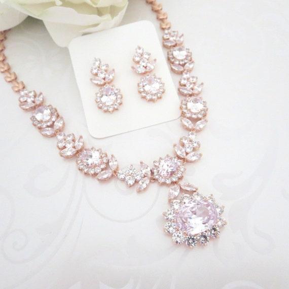 rose gold statement necklace rose gold bridal necklace set. Black Bedroom Furniture Sets. Home Design Ideas