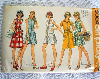 1970's Simplicity 5004 Vintage Sewing Pattern- Misses' Shirtdress Tunic and Shorts Size 12 Bust 34