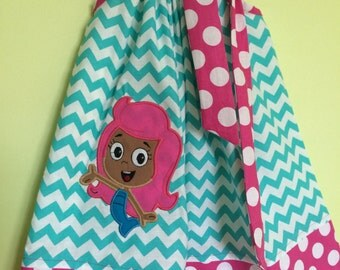 Custom Made Pillowcase Dress Turquoise Chevron with Molly of Bubble Guppies Machine Embroidered Pink Polka Dot Hem & Ribbon-Sizes NB-8 y/o