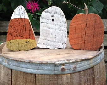 Candy Corn, Ghost, Pumpkin, Primitive fall decor, Fall Decor, Barn wood, Upcycled, Bowl Filler, Primitive Halloween Decor