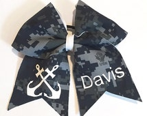 Navy Custom Cheer Bow