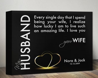 Personalized Anniversary Gift for Husband Gift for Him, Husband Quote Canvas Print Custom Anniversary Gift for Men, 1st Anniversary Gift