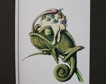 Chameleon Birthday Card w/Envelope {Single Card}