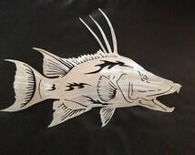 Metal Fish Wall Lights : Hogfish, Metal fish art, wall art, fish mount, sculpture, nautical, beach house decor, ocean art ...