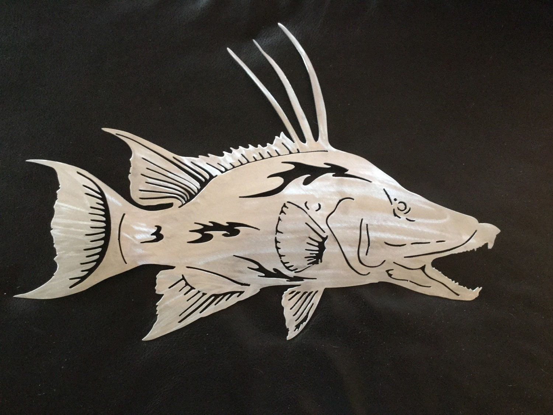 Hogfish metal gamefish wall art fish by islandlifemetalworks for Fish wall art