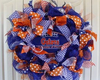 Florida Gators Wreath. Custom professional or college sport team deco mesh wreath. University of Florida Gators wreath Florida Gators Decor