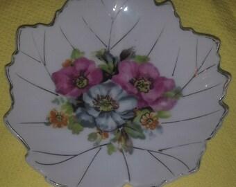 Leaf Shaped Handpainted Floral Trinket Dish or Spoon Rest