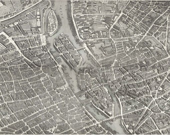 Plan of Paris dated 1739 - Large Wall Art