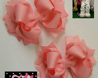 Set of 2 pcs 4 inch pigtails hair bows for girls, small Stacked Boutique Hair Bow, bow girl hair, baby bow, you can choose from 19 colors