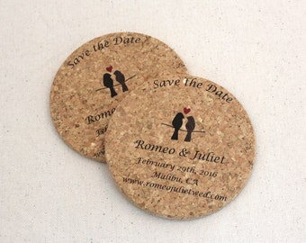 Personalized Wedding Cork Coasters, Save the Date, Lovebirds