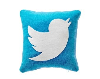 Icon Pillow Twitter, Decorative Pillow, Throw Pillow, Cushion Cover, Pillow Case