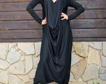 Black Jersey Jumpsuit / Black Plus Size Jumpsuit / Black Large Jumpsuit TJ10