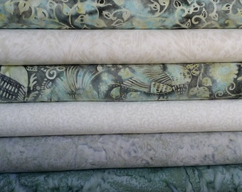 1/2 Yard Fabric Bundle of Hoffman Batiks.  6 Different Fabrics