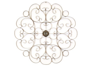 Medallion Iron Scroll-Architectural Wall Garden-37 inches-Wrought Iron-Handmade