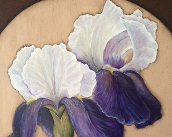 Handpainted iris on cabinet door
